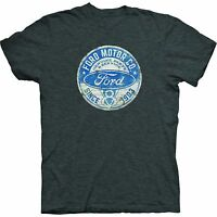 Ford T Shirt Gray w V8 Ford Motor Company Since 1903 Emblem Distressed