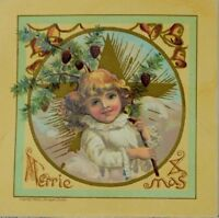 1883 Victorian Christmas Trade Card Graphic Adorable Girl Gold Star Bells #1 P43