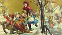 1870's-80's Victorian Christmas Trade Card Children Sled Windmill Snow
