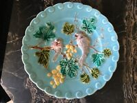 French Sarreguemines Majolica Plate Birds