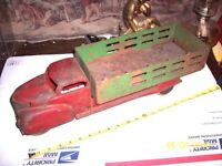 Marx??  ORIGINAL 20.5 INCH Pressed Steel Stake Truck ~ RED Cab with GREEN Back