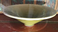 "Large Pottery BOWL 10X3.25"" Brown Green Fade Stunning Fruit Bowl Centerpiece"