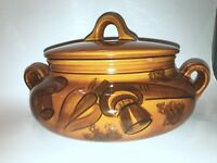 Los Angeles Pottery Yellow Harvest Bowl And Lid 12x 7 With Lid To Handles EUC