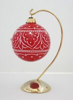 GP Deruta Christmas Ornament ~ Hand Painted Ceramic Red Ball ~ Made in Italy NIB