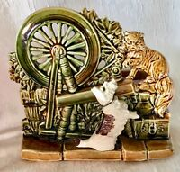Vintage McCoy Pottery Planter Spinning Wheel with Cat and Dog Scottie Mint