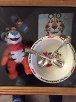 Tony The Tiger Kellogg's Collectors Plush Bowl Signed Die cast 2 Spoons!!!!!