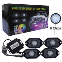 4 Pod RGB LED Rock Lights Offroad Underbody Music Wireless Bluetooth Control ATV