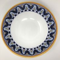 Deruta Pottery Bordato Pattern LARGE Serving Bowl Hand Painted Italy Blue Yellow
