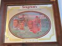 SEAGRAM'S 1970'S SEVEN CROWN WOOD FRAMED MIRROR 1933 1ST NFL CHAMPIONSHIP