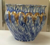 ANTIQUE Very Large Stunning Flow Blue Gold Jardiniere Excellent Condition Fern