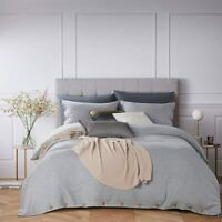 KING Duvet Cover 3 PCS Set Brushed Button Closure Heather Gray Duvet Bed Covers