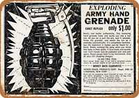 Metal Sign - Exploding Army Hand Grenade Toy - Vintage Look Reproduction