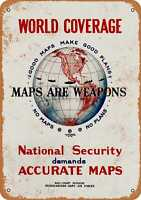 Metal Sign - 1942 Maps Are Weapons Army Air Force - Vintage Look Reproduction