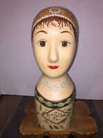 Antique Millinary Store Display Hand Painted Wood Head