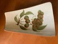 Vintage Orchard Song Pattern Stangl Brown Green Fruit Footed Pastry Dish Platter