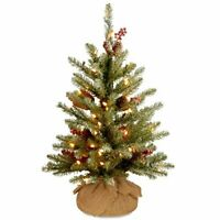 3' Dunhill Fir Small Christmas Tree with Red Berries, Snow, Cones