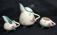 Vintage Hull Butterfly Tea Pot-Creamer & Sugar Bowl/no Lid