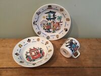 Vintage FIGGJO NORWAY Childs Plate Bowl Cup Thorbjorn Egner Robbers Of Cardamom