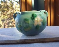 Vintage Roseville Pottery WHITE ROSE Blue Base Jardiniere 653-3