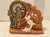 McCoy Spinning Wheel Planter with Dog & Cat