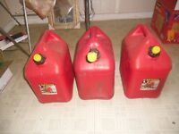 3 Blitz 5 Gallon Plastic Vented Gas Fuel Can spout with Yellow Cap. PICK UP ONLY