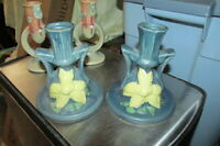 Pair Of Reproduction Roseville Clematis 1159 Candlesticks Candle Holders