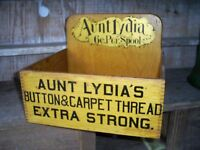 Antique Lydia's Button & Carpet Thread Spool Cabinet Wood Box Store Display