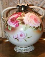 Antique19th Century Nippon Hand Painted Footed Gold Gilt Urn Vase Roses Handles