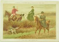 1880's Lovely Christmas Lady's Fox Hunting Victorian Trade Card P116