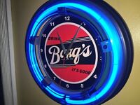 Barq's Root Beer Soda Fountain Diner Bar Man Cave Blue Neon Wall Clock Sign