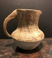Rustic Handthrown Pottery Pitcher Off White & Tan / Brown-Stoneware Pitcher