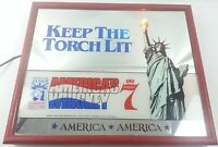 Vtg SEAGRAMS Statue Of Liberty America's Whiskey Mirror Lamp Ad Advertising