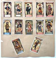 VINTAGE VICTORIAN Paper Trade Card Lot Countries Children Die Cut Embossed Fans
