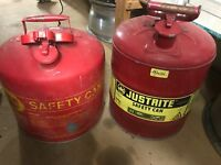 Pair Of Safety Gas Cans Vintage Eagle 5 Gal & Justrite 5 Gal Free Shipping