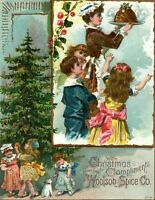 Lovely Christmas Kids Tree Pudding Woolson Spice, Toledo Victorian Trade Card *D