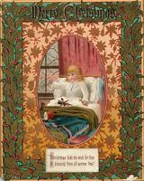 1880's Lovely Christmas Sorrow Free Girl Toy's Doll Victorian Trade Card *D
