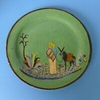 Vintage 1940 Mexican Tlaquepaque green donkey tourist pottery plate 7 1/2