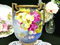 NIPPON large hand painted grapes pattern urn stunning vase gold trims