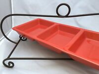 Housewares International Caliente 3-Section Orange Pottery Divided Serverw/Stand