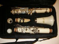 Hawk Clarinet - White with carrying case