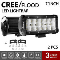 2x 7INCH 36W CREE LED WORK LIGHT BAR OFFROAD DRIVING LAMP 4WD ATV FLOOD to Jeep