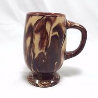 Clays in Calico Pottery Pedestal Mug Handmade Vintage Art Pottery Brown Swirl