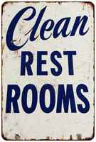 Clean Restrooms Vintage Retro Reproduction Gift 8x12 Metal Sign 108120067128