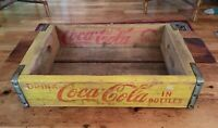 1966 COCA COLA COKE Bottle Wood Crate ~ Yellow Red Rustic Decor Collectible