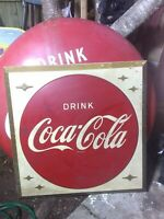 vintage 1960's drink coca cola embrossed button single single sided sign