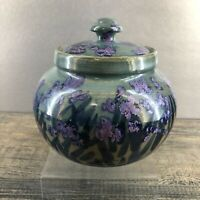 Vintage Signed Art Studio Pottery Blue Irises Covered Bowl Pot Handmade Van Gogh