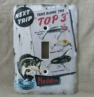 Heddon Lure Metal Light Switch Cover New Rustic Old Tin Sign Look Unique