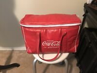 Vintage Retro DRINK COCA-COLA in BOTTLES Red Vinyl Coke Bag Carry Insulated Tote