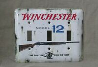 Winchester Model 12 Metal Triple Light Switch Cover New Old Tin Sign Look