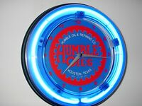 Humble OldLogo Oil Gas Station Garage Man Cave Blue Neon Wall Clock Sign